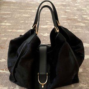 GUCCI Large Soft Stirrup BLACK Calf Hair Handbag with Gold Hardware